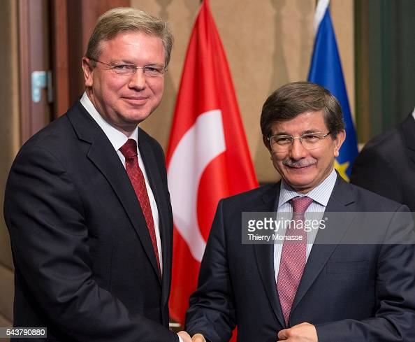 Brussels Belgium May 28 2013 Turkish Minister of Foreign Affairs Ahmet DAVUTOGLU is welcome by the EU Enlargement and European Neighbourhood Policy...