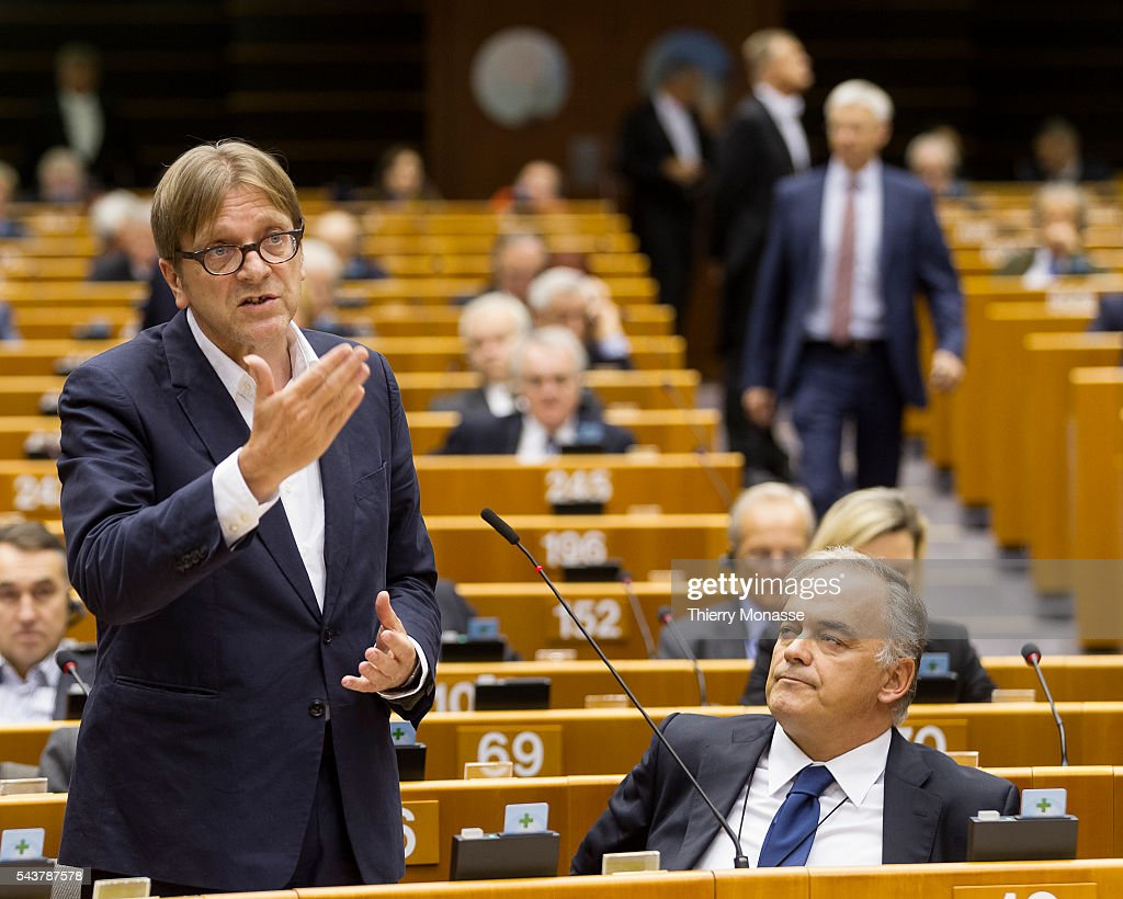 Brussels Belgium November 11 2015 Belgium Member of the European Parliament Guy VERHOFSTADT delivers a speach while the Spanish MEP Esteban GONZÁLEZ...