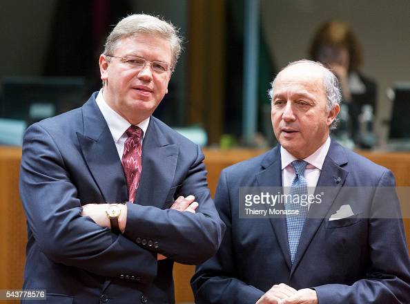 Brussels Belgium November 19 2012 EU Enlargement and European Neighbourhood Policy Commissioner Stefan FÜLE is talking with the French Minister of...