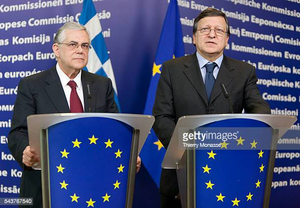 Brussels Belgium November 21 2011 Greek Prime Minister Lucas PAPADEMOS and European Commission President Jose Manuel BARROSO participate in a media...