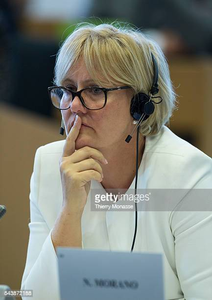 Brussels Belgium October 02 2014 French MEP Nadine MORANO is listening during a hearing in the European Parliament