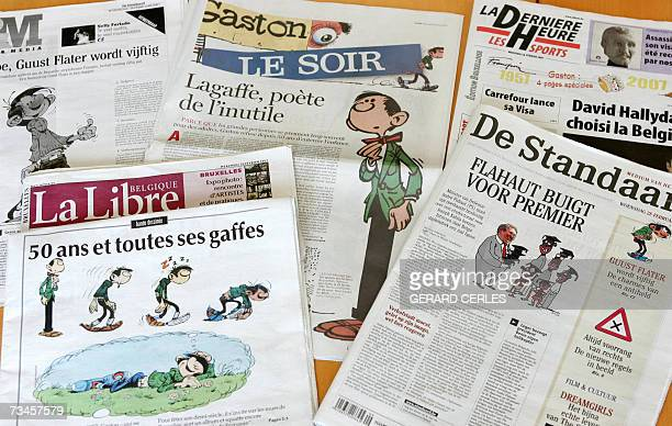 Picture showing front pages of Belgium newpapers featuring Gaston Lagaffe the famous character created by Belgian cartoonist Andre Franquin taken 28...