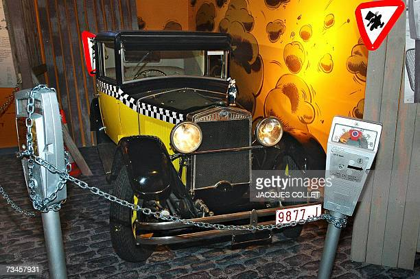 Picture taken 28 February 2007 shows the replica of the car of comic character Gaston Lagaffe drawn by Belgian cartoonist Franquin on display at an...