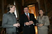 Princess Mathilde of Belgium chats with Jose Manuel Barroso and his wife Margarida Sousa Uva during a New Year reception for the representatives of...