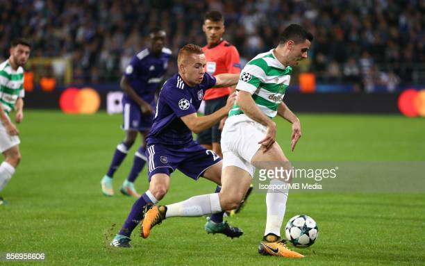 20170927 Brussels Belgium / Rsc Anderlecht v Celtic Fc / 'nAdrien TREBEL Tom ROGIC'nFootball Uefa Champions League 2017 2018 Group stage Matchday 2...