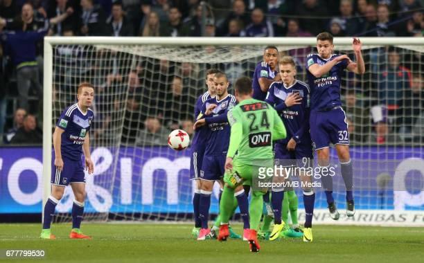 20170427 Brussels Belgium / Rsc Anderlecht v Sporting Charleroi / 'nSofiane HANNI Youri TIELEMANS Lukasz TEODORCZYK Leander DENDONCKER'nJupiler Pro...