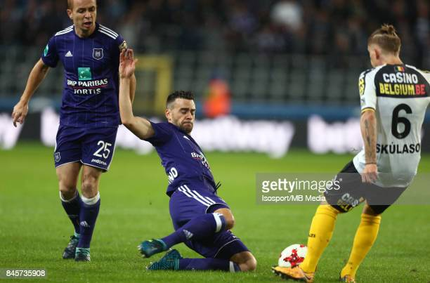 20170908 Brussels Belgium / Rsc Anderlecht v Sporting Lokeren / 'nAdrien TREBEL Massimo BRUNO Ari Freyr SKULASON'nFootball Jupiler Pro League 2017...