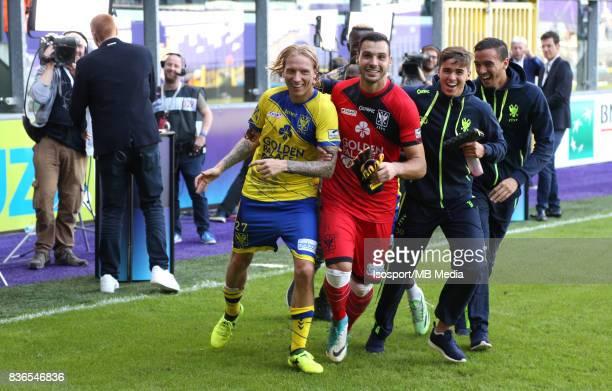 20170820 Brussels Belgium / Rsc Anderlecht v Stvv / 'nJonathan LEGEAR Lucas PIRARD Celebration'nFootball Jupiler Pro League 2017 2018 Matchday 4 /...