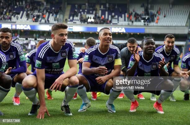 20170423 Brussels Belgium / Rsc Anderlecht vs Club Brugge / 'nLeander DENDONCKER Youri TIELEMANS Frank ACHEAMPONG Vreugde Joie Celebration'nJupiler...