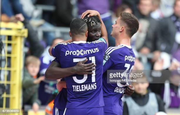 20170423 Brussels Belgium / Rsc Anderlecht vs Club Brugge / 'nYouri TIELEMANS Kara MBODJI Leander DENDONCKER Vreugde Joie Celebration'nJupiler Pro...