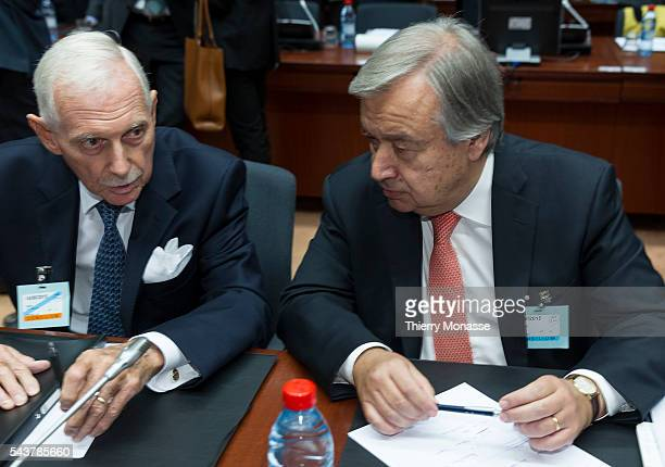 Brussels Belgium September 14 2015 Director General of the International Organization for Migration William Lacy Swing is talking with the United...