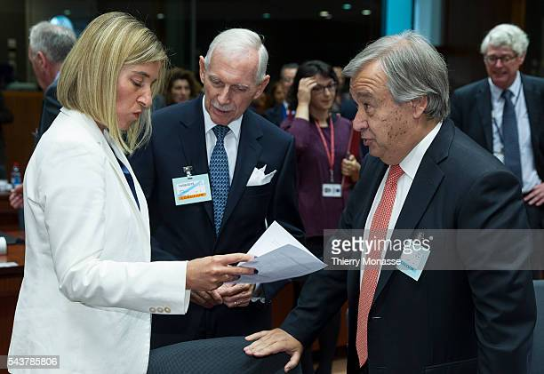 Brussels Belgium September 14 2015 High Representative of the European Union for Foreign Affairs and Security Policy Federica Mogherini is talking...