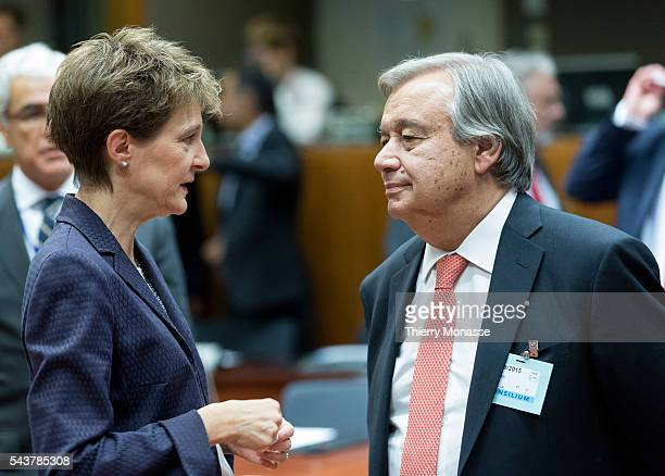 Brussels Belgium September 14 2015 Swiss Chief Federal Dept of Justice Police Simonetta Sommaruga is talking with the United Nations High...