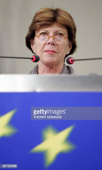 The EU Commissioner for competition Neelie Kroes is seen during a press briefing in the Berlaymont the EU commission headquarters in Brussels 21...
