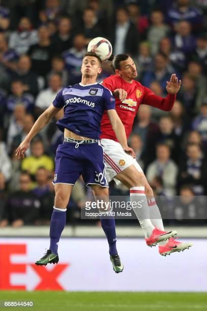Rsc Anderlecht vs Manchester United / 'nLeander DENDONCKER Zlatan IBRAHIMOVIC'nFootball Uefa Europa League 2016 2017 QuarterFinal 1st leg / Constant...