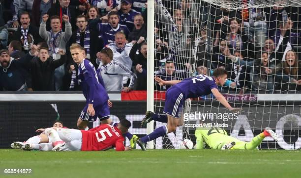 Rsc Anderlecht vs Manchester United / 'nLeander DENDONCKER Vreugde Joie Celebration'nFootball Uefa Europa League 2016 2017 QuarterFinal 1st leg /...