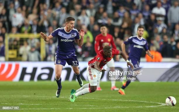 Rsc Anderlecht vs Manchester United / 'nLeander DENDONCKER Paul POGBA'nFootball Uefa Europa League 2016 2017 QuarterFinal 1st leg / Constant Vanden...