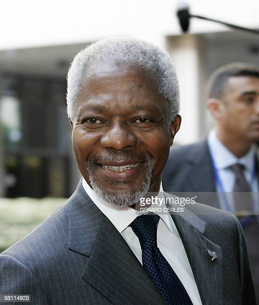 UN Secretary General Kofi Annan arrives at the EU Headquarters in Brussels 22 June 2005 for the Iraq international conference AFP PHOTO GERARD CERLES