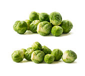 Brussels sprouts cabbage isolated on a white. Brussels sprouts cabbage on a white background. Cabbage with copy space for text.
