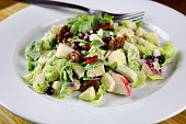 Brussels sprouts, apple and pomegranate with candied pecan salad