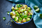 Brussels sprouts salad with honey, walnuts and pomelo.