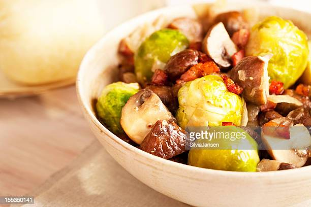 brussels sprouts, sweet chestnuts and mushroom lunch