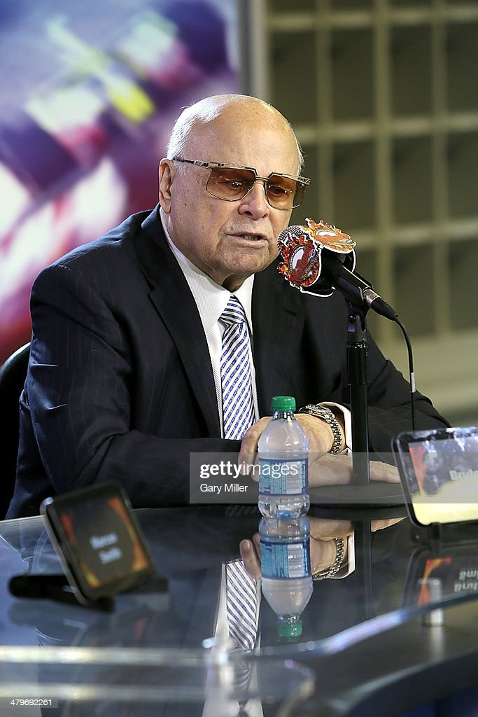 Bruton Smith speaks during the press conference for the unveiling of 'Big Hoss' the largest HD video board in the world at Texas Motor Speedway on March 19, 2014 in Fort Worth, Texas.