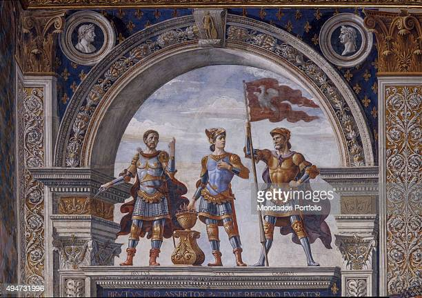Brutus Mucius Scaevola and Camillus by Domenico Ghirlandaio 14821484 15th century fresco Italy Tuscany Florence Palazzo Vecchio Room of the Lilies...