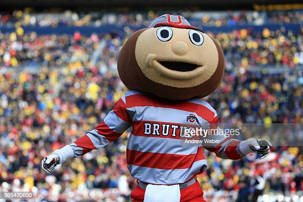 Brutus the Buckeye during the game against the Michigan Wolverines at Michigan Stadium on November 28 2015 in Ann Arbor Michigan Ohio State defeated...