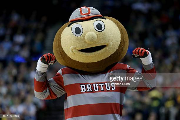 Brutus the mascot for the Ohio State Buckeyes performs in the second half against the Arizona Wildcats during the third round of the 2015 NCAA Men's...