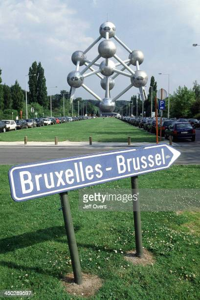 Bruxelles Brussels road sign Belgium by the Atomium