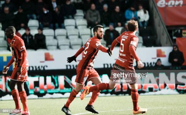Brwa Nouri Darian Bojanic of Ostersunds FK celebrates after scoring during the allsvenskan match between Orebro SK and Ostersunds FK at Behrn Arena...