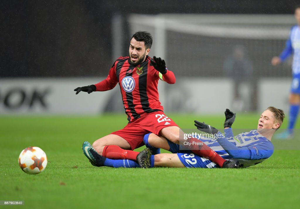 Brwa Nouri of Oestersunds FK and Palko Dardai of Hertha BSC during the UEFA Europa League, Group J match between Hertha BSC and Oestersunds FK on December 7, 2017 in Berlin, Germany.