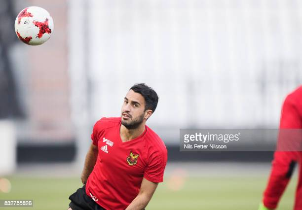 Brwa Nouri of Oestersunds FK during training ahead of the UEFA Europa League Qualifying PlayOffs round first leg match between PAOK Saloniki and...