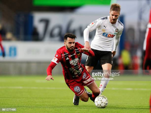 Brwa Nouri of Ostersunds FK and Johan Martensson of Orebro SK during the Allsvenskan match between Ostersunds FK and Orebro SK at Jamtkraft Arena on...