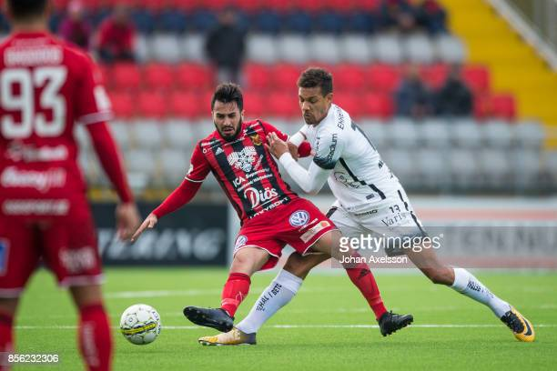 Brwa Nouri of Ostersunds FK and Mathias Ranegie of BK Hacken competes for the ball during the Allsvenskan match between Ostersunds FK and BK Hacken...