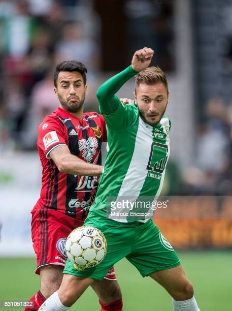 Brwa Nouri of Ostersunds FK and Muamer Tankovic of Hammarby IF during the Allsvenskan match between Hammarby IF and Ostersunds FK at Tele2 Arena on...