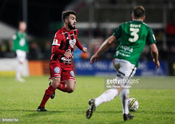 Brwa Nouri of Ostersunds FK and Tom Siwe of Jonkopings Sodra competes for the ball during the Allsvenskan match between Jonkopings Sodra IF and...