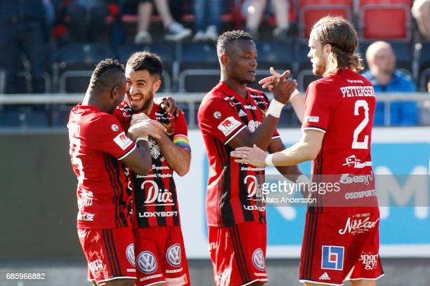 Brwa Nouri of Ostersunds FK celebrates after scoring 20 during the Allsvenskan match between Ostersunds FK and Kalmar FF at Jamtkraft Arena on May 20...