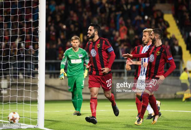Brwa Nouri of Ostersunds FK celebrates after scoring to 10 during the UEFA Europa League group J match between Ostersunds FK and Hertha BSC at...