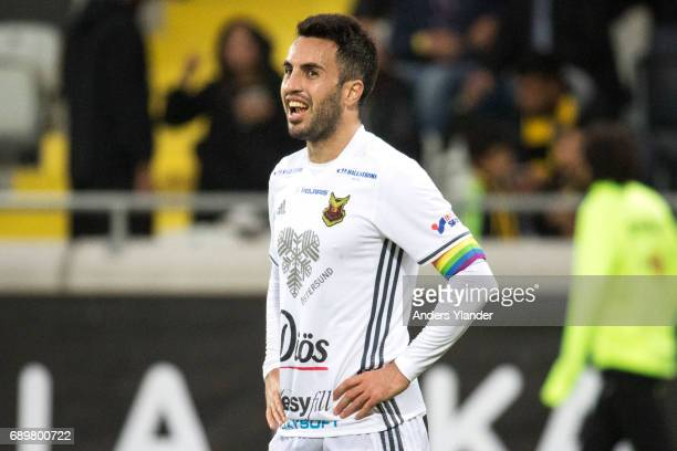 Brwa Nouri of Ostersunds FK celebrates after the victory in the Allsvenskan match between BK Hacken and Ostersunds FK at Bravida Arena on May 29 2017...