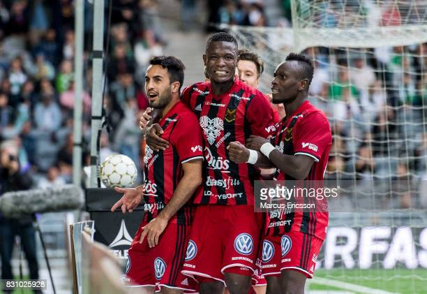 Brwa Nouri of Ostersunds FK celebrates with teammates after scoring 22 during the Allsvenskan match between Hammarby IF and Ostersunds FK at Tele2...