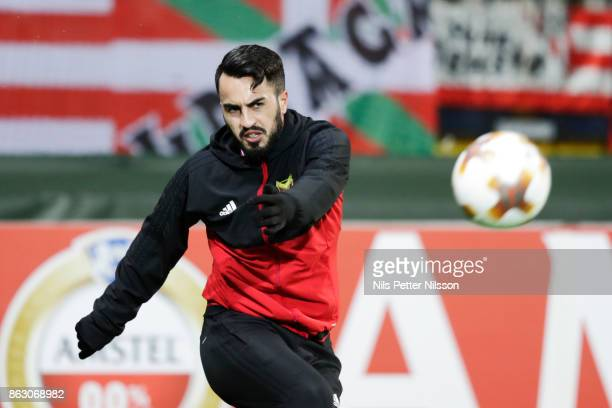 Brwa Nouri of Ostersunds FK during warm up ahead of the UEFA Europa League group J match between Ostersunds FK and Athletic Bilbao at Jamtkraft Arena...