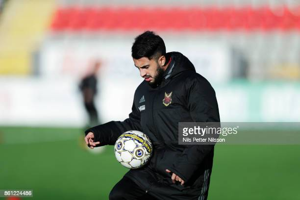 Brwa Nouri of Ostersunds FK during warmup ahead of the Allsvenskan match between Ostersunds FK and Orebro SK at Jamtkraft Arena on October 14 2017 in...