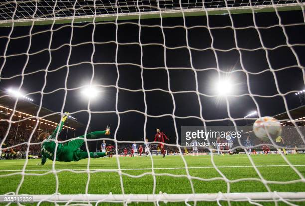 Brwa Nouri of Ostersunds FK scores the decisive goal to 10 from the penalty spot during the UEFA Europa League group J match between Ostersunds FK...