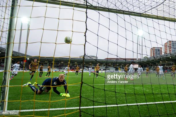 Brwa Nouri of Ostersunds FK scores the opening goal behind Peter Abrahamsson goalkeeper of BK Hacken on penalty during the Allsvenskan match between...