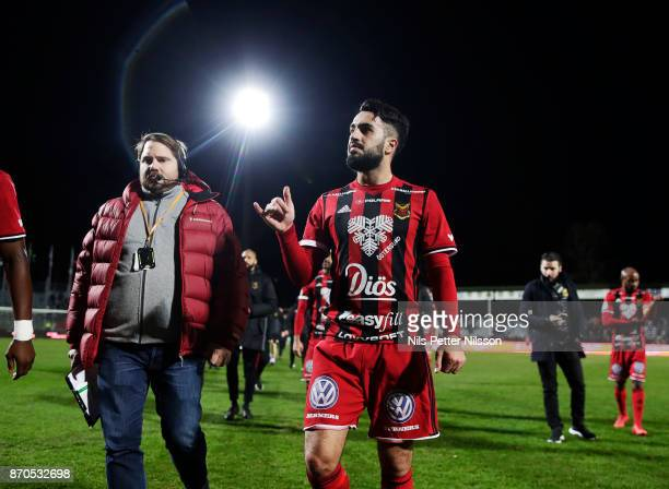 Brwa Nouri of Ostersunds FK walks off the pitch after the Allsvenskan match between Jonkopings Sodra IF and Ostersunds FK at Stadsparksvallen on...