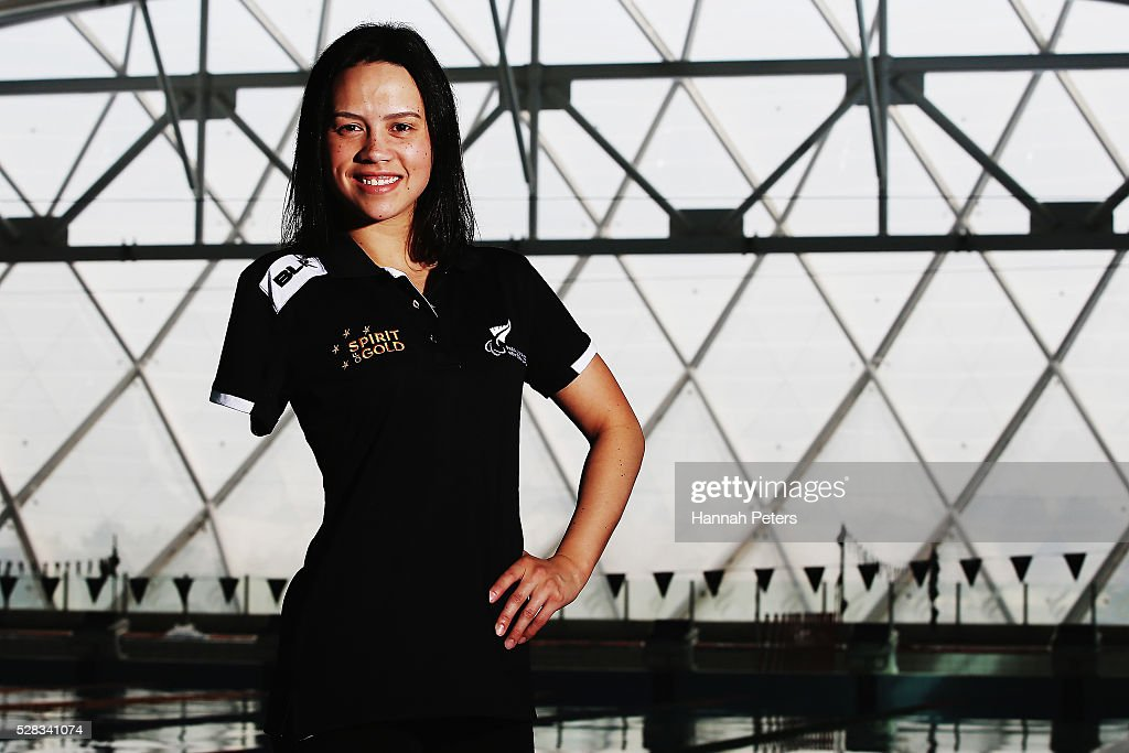 Bryall McPherson poses for a photo after being named during the New Zealand Para-Swimming team announcement at Sir Owen Glenn Aquatic Centre on May 5, 2016 in Auckland, New Zealand.