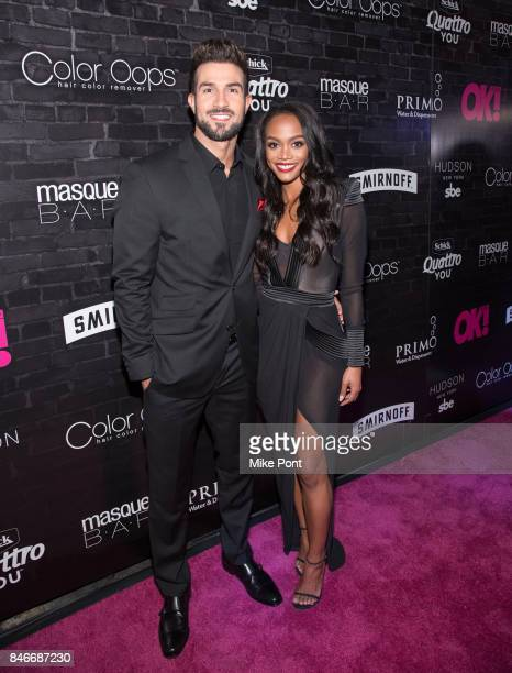 Bryan Abasolo and Rachel Lindsay attend OK Magazine's Fall Fashion Week 2017 Event at Hudson Hotel on September 13 2017 in New York City