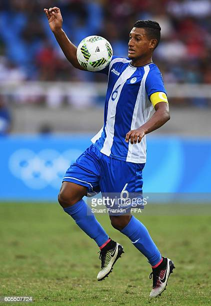 Bryan Acosta of Honduras in action during the Olympic Men's Football match between Honduras and Portugal at Olympic Stadium on August 7 2016 in Rio...